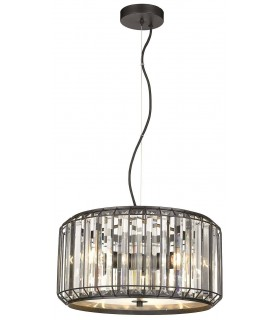 3 Light Ceiling Pendant Black, Clear with Crystals
