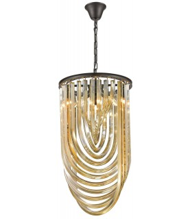 3 Light Ceiling Pendant Black Chrome, Champagne gold with Crystals, E14