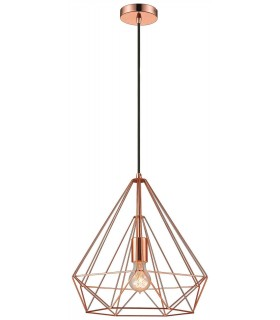 1 Light Wire Small Ceiling Pendant Copper