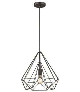 1 Light Wire Small Ceiling Pendant Matt Black