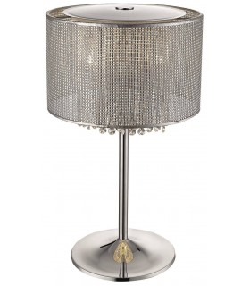 4 Light Table Lamp Silver, Crystal Glass, G9