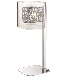 1 Light Table Lamp Mesh Chrome, Clear and Glass