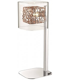 1 Light Table Lamp Mesh Chrome, Copper and Glass