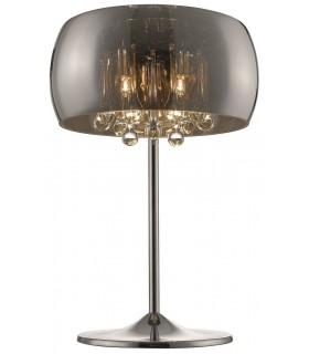 3 Light Table Lamp Chrome, Copper, Crystal with Smoked Glass Shade, G9