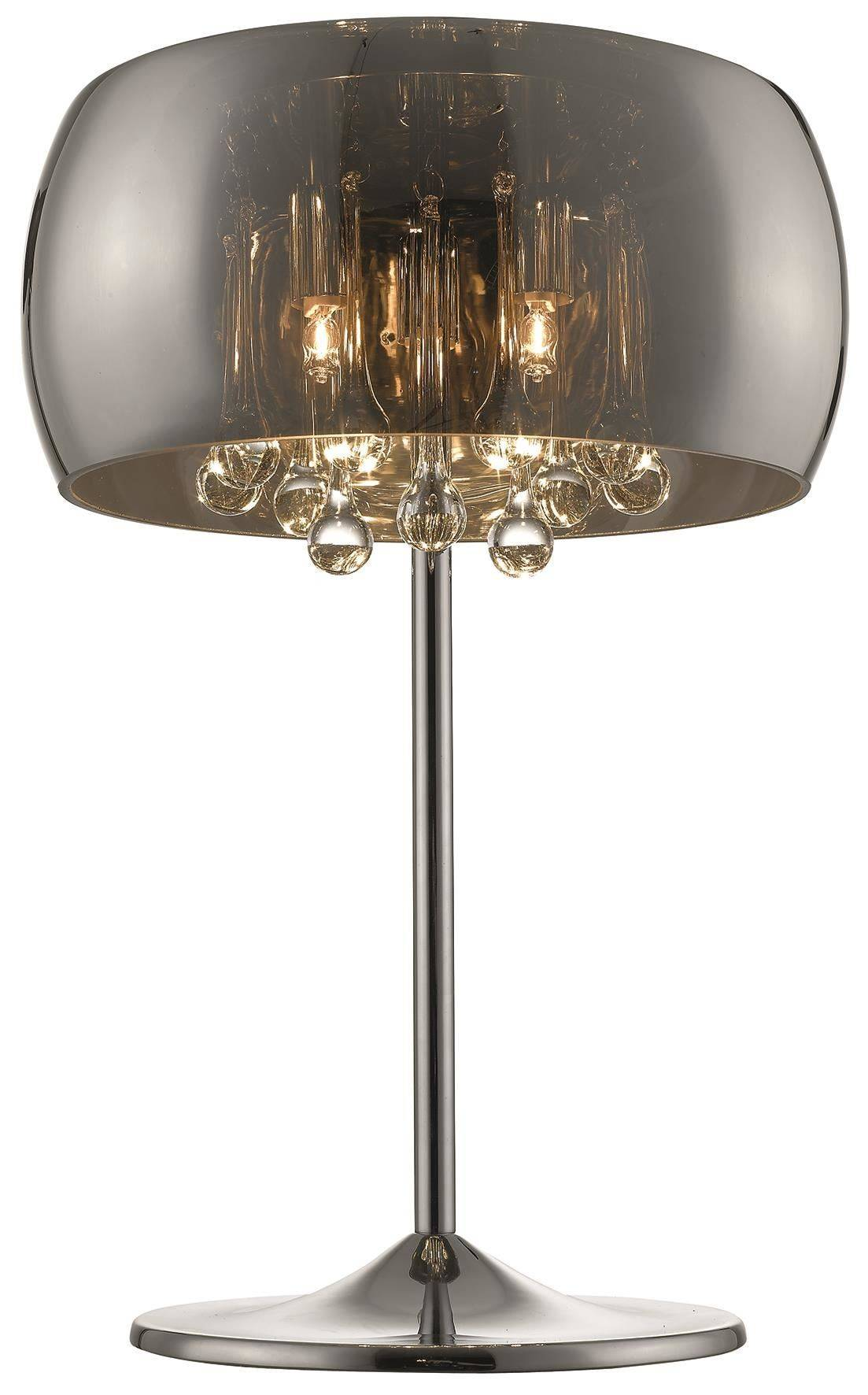 3 Light Table Lamp Chrome Copper Crystal With Smoked Glass Shade