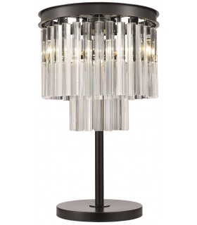 Black Chrome And Crystal Table Lamp