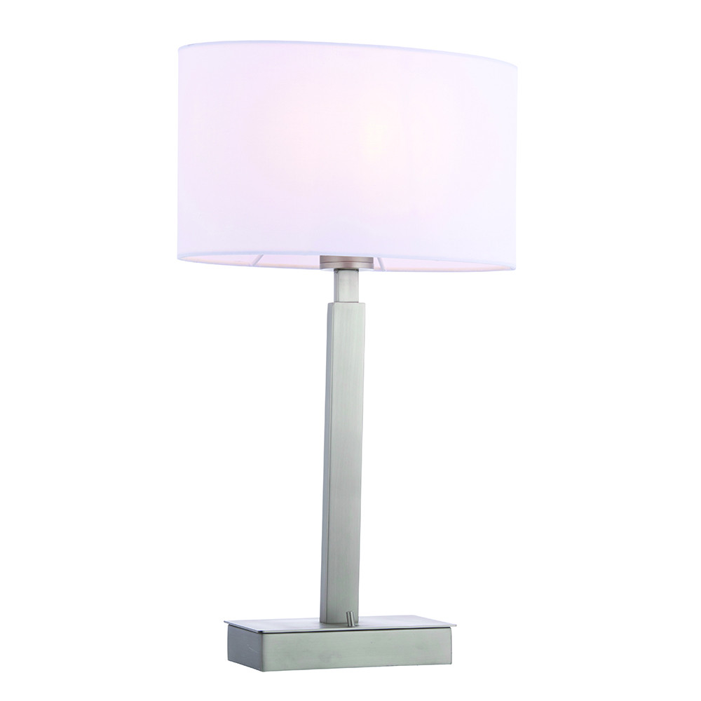 Table Lamp Matt Nickel Plate, Vintage White Fabric Oval Shade With Usb Socket