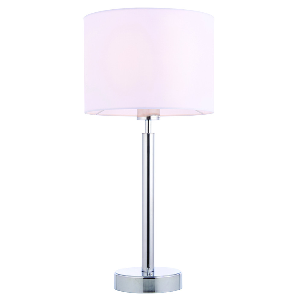 Table Lamp Chrome Plate, Vintage White Fabric Shade With Usb Socket