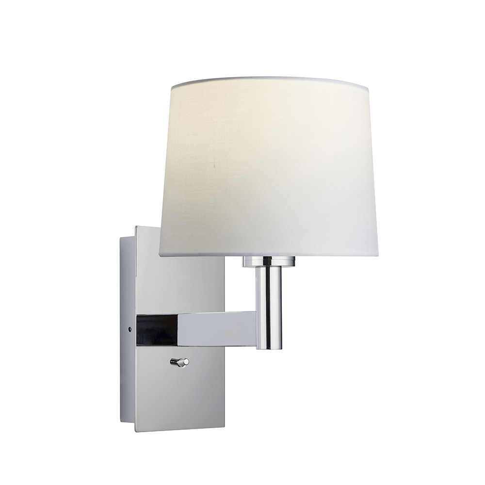 Wall Lamp Chrome Plate, Vintage White Fabric Round Shade With Usb Socket