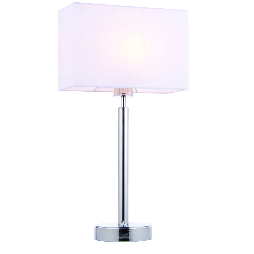 Table Lamp Chrome Plate, Vintage White Fabric Rectangular Shade With Usb Socket