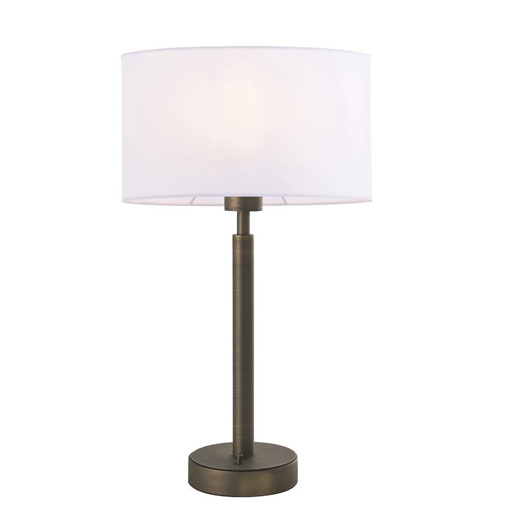 Table Lamp Antique Bronze Plate, Vintage White Fabric Oval Shade With Usb Socket