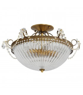 4 Light Semi Flush Ceiling Light Brass, Clear with Ribbed Glass Shade