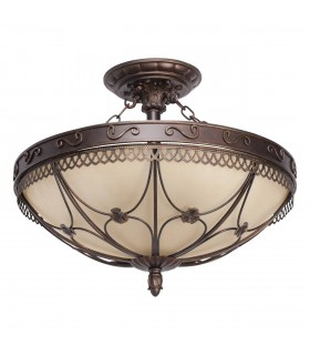 5 Light Semi Flush Ceiling Light Beige, Antique Bronze with Glass