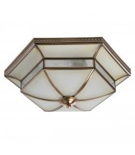 4 Light Flush Ceiling Light White, Brass with Frosted Glass