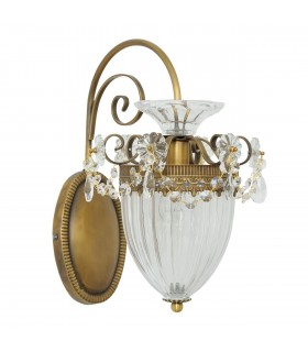 1 Light Indoor Wall Lamp Brass, Clear with Ribbed Glass Shade