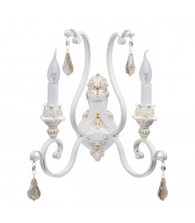 Glasberg - White And Gold Two Light Wall Lamp 639022902