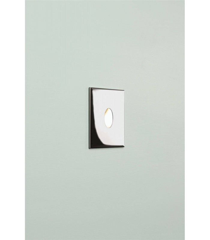 LED 1 Light Outdoor Recessed Wall Light Polished Chrome IP65