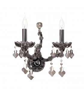 Glasberg - Nickel Two Light Wall Lamp With Smokey Glass And Crystals 477020502