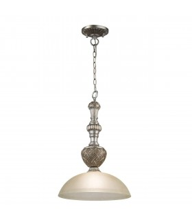 1 Light Ceiling Pendant Beige, Antique Silver with Matt Glass Shade