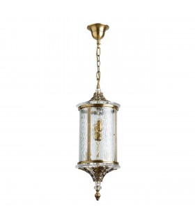 Antique Brass Four Light Outdoor Pendant With Crystal Decor