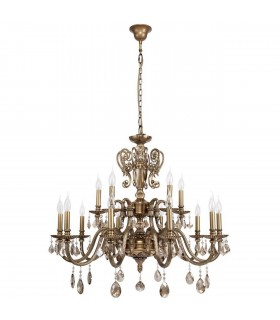 Antique Brass Fifteen Light Chandelier With Champagne Crystals
