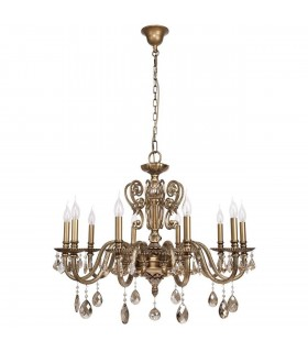 Antique Brass Ten Light Chandelier With Champagne Crystals