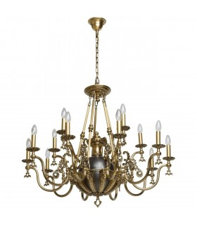 Antique Brass And Black Fifteen Light Chandelier