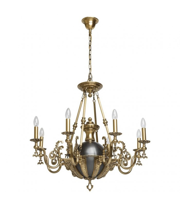 Antique Brass And Black Eight Light Chandelier