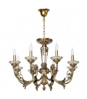 Antique Brass Eight Light Chandelier With Champagne Crystal Detail