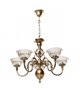 Antique Brass Five Light Chandelier With Tinted Glass Shades
