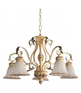 Milk Coloured Five Light Chandelier With Glass Shades