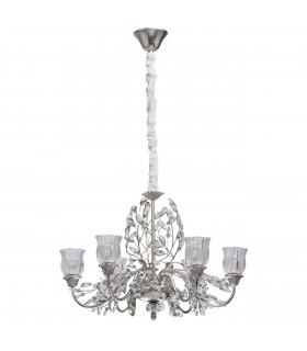 Glasberg - Silver Finish Six Light Chandelier With Clear Glass Shades 298012106
