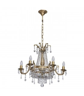 Antique Brass Eight Light Chandelier With Crystals