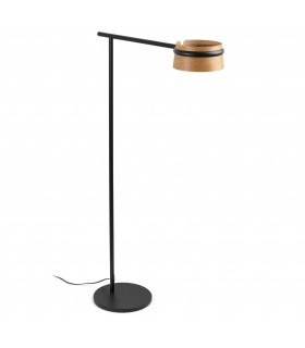 LED Floor Lamp Black, Wood