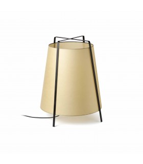 1 Light Floor Lamp Black with Beige Shade, E27