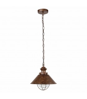 1 Light Large Outdoor Pendant Ceiling Light Clear, Rust Brown