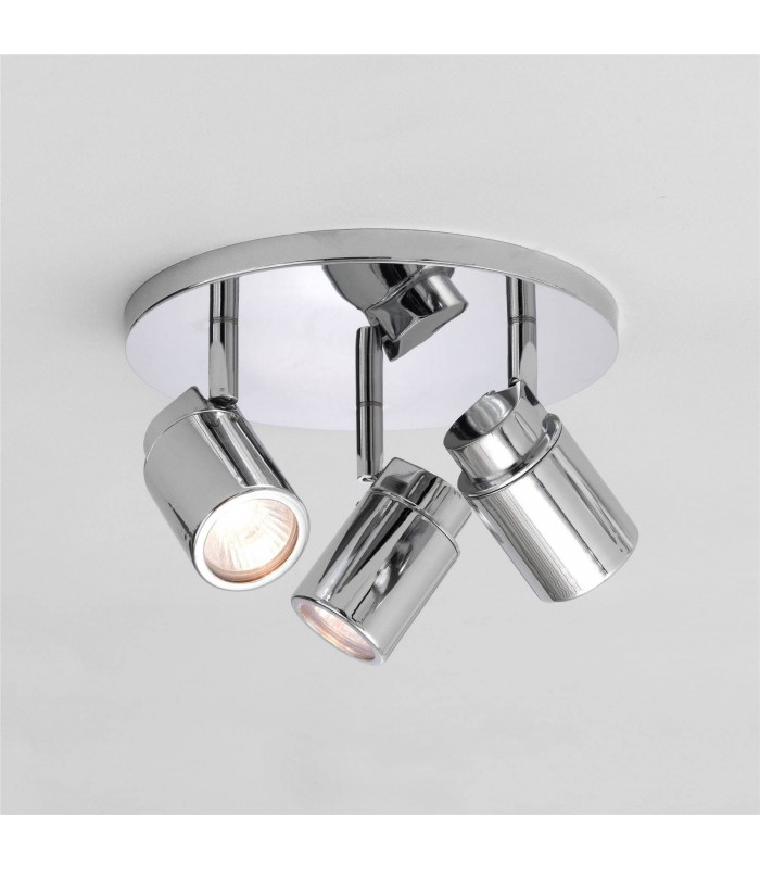 3 Light Triple Round Bathroom Ceiling Spotlight Polished Chrome IP44, GU10
