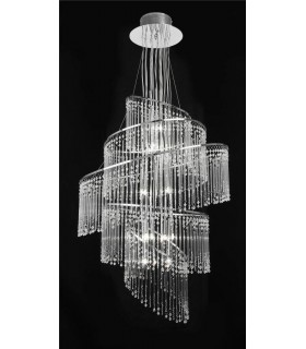 24 LIGHT CHROME CHANDELIER WITH GLASS DROPS- Endon CAMILLE-24CH