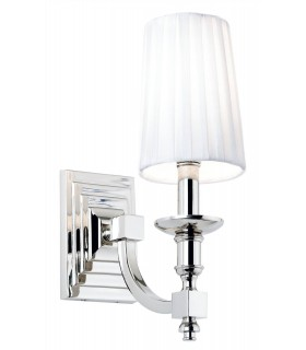 1 Light Indoor Candle Wall Lamp Nickel with White Pleated Shade
