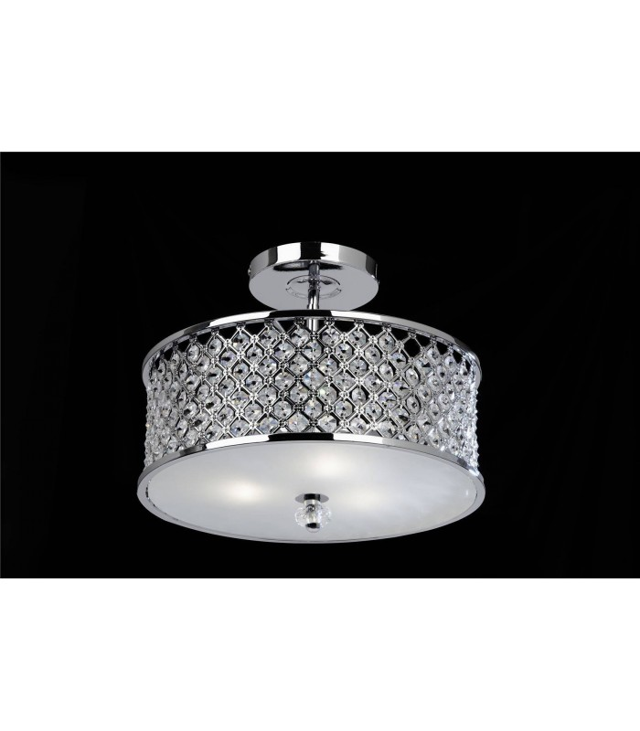3 Light Semi Flush Ceiling Light Metal with Crystal Beads & Glass Diffuser, E27
