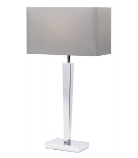 1 Light Table Lamp Chrome with Grey Silk Effect Shade