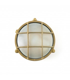1 Light Outdoor Bulkhead Wall Light Brass IP65, E27