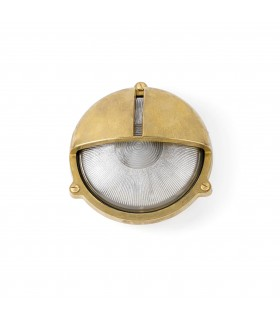 1 Light Outdoor Bulkhead Wall Light Brass IP44