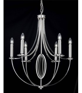 6 Light Multi Arm Ceiling Pendant Polished Nickel, E14