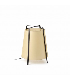 1 Light Table Lamp Black with Beige Shade, E27