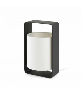 1 Light Small Table Lamp White, Black with White Shade, E27