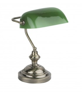 1 Light Banker Lamp Green, Antique Gold, E27