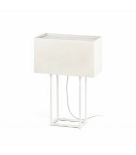 2 Light Table Lamp White with Beige Shade, E27