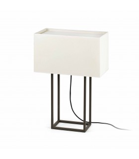 2 Light Table Lamp Brown with Beige Shade, E27