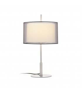 1 Light Table Lamp White, Matt Nickel with Double Shade